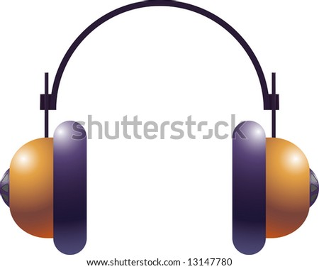 The headphones. Protection of ears against noise. A vector illustration. - stock photo