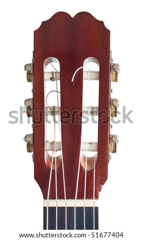 "The headstock of a classical guitar (or ""spanish guitar""). Details as the tuning pegs and the strings are clearly visible. - stock photo"
