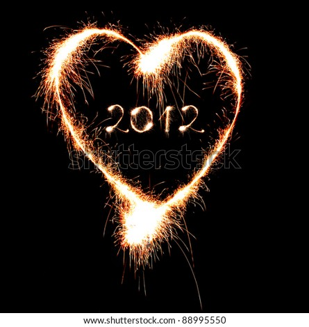 The heart and the number 2012 from the Bengal fire - stock photo