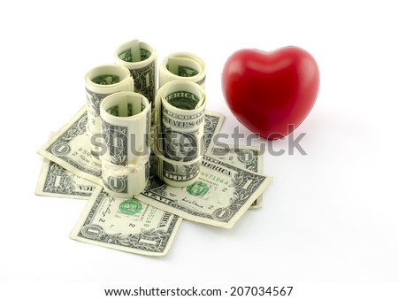 The heart of the money - stock photo