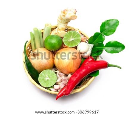 the herb and spice ingredients on white background - stock photo