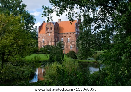 The Hesselagergard Manor near Gudme on the danish island Funen is the oldest Renaissance building in Denmark. The construction started 1538 and completed 1550. - stock photo
