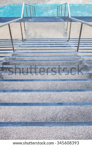 The high staircase go down to ground - stock photo