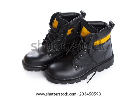 The high work  black leather boots isolated on white background - stock photo