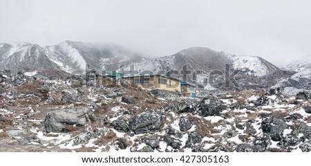 The highest lodge Chhukhung (4730 m) - Everest region, Nepal, Himalayas - stock photo