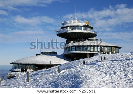 The highest mountain of the Czech republic on the top. Snezka - stock photo
