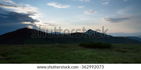 The highest mountain of Ukraine Hoverla 2061 m. Chornogora ridge, Ukraine. - stock photo