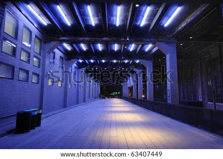 The Highline in New York City is a green line converted from an elevated freight line.  This section once had trains passing though the center of buildings. - stock photo