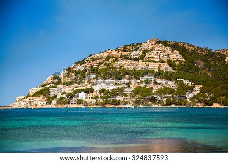 the hill with small houses in Port d'Andratx, Majorca, Spain - stock photo