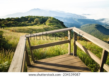 The hills in the fog. Morning landscape , Inthanon Thailand - stock photo