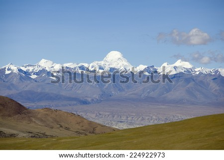 The Himalaya mountain range in Tibet of China. - stock photo