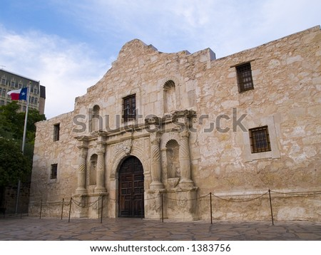 The historic Alamo mission in San Antonio, Texas, famous battleground of the Texas Revolutionary War. - stock photo