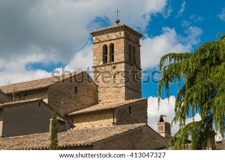 The historic center of Bevagna. - stock photo