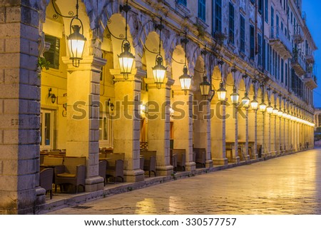 The historic center of Corfu town at night, Greece - stock photo