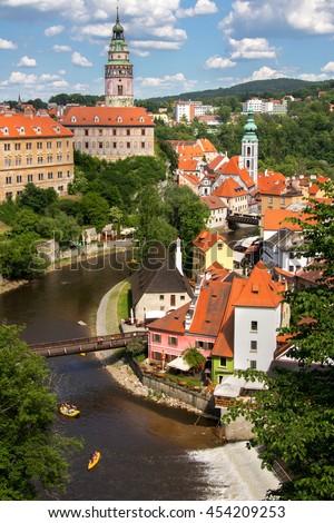 The historic center of Czech Krumlov with Castle, Czech republic - stock photo
