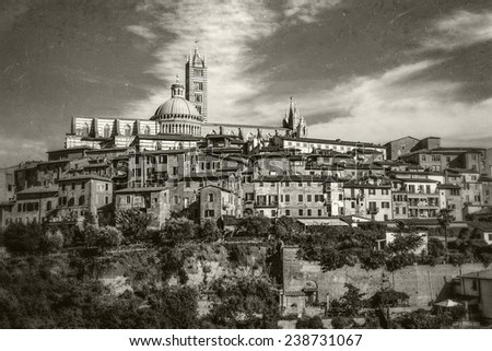 The historic city of Siena in sepia. Tuscany, Italy - stock photo