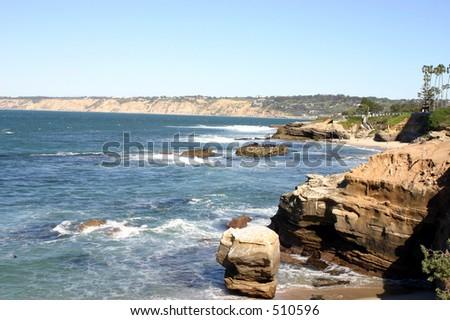 The historic cliffs on the California coastline in La Jolla - stock photo