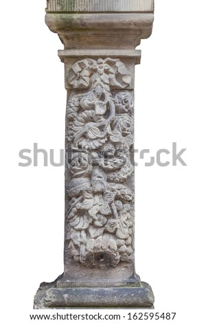 The historic column with floral motif - isolated on white - stock photo