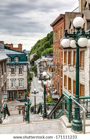 The historic district of Old Quebec is a UNESCO World Heritage Site. - stock photo