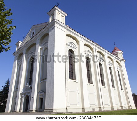 The historic Evangelic church in the old town of Kedainiai (Lithuania). - stock photo