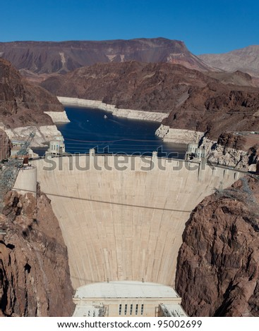 The historic Hoover Dam on a the Colorado River and Lake Meade Arizona - stock photo