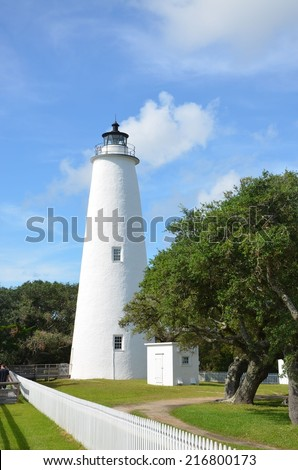 The historic lighthouse at Ocracoke on the outer banks. - stock photo
