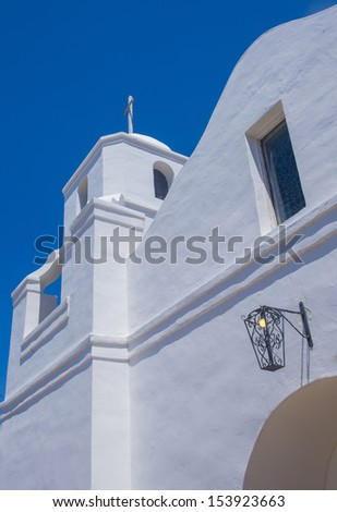 The historic Old Adobe Mission Our Lady of Perpetual Help Church, built in 1933 in Old Town Scottsdale, Arizona - stock photo