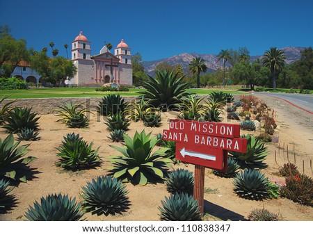 The historic Santa Barbara Mission in California - stock photo