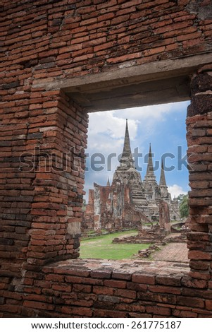 The historic site Wat Phra Srisanphet in Ayutthaya, Thailand. - stock photo
