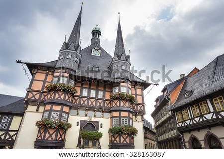The historic townhall of Wernigerode, East Germany - stock photo