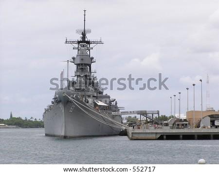 The Historic USS Missouri in Pearl Harbor Hawaii - stock photo