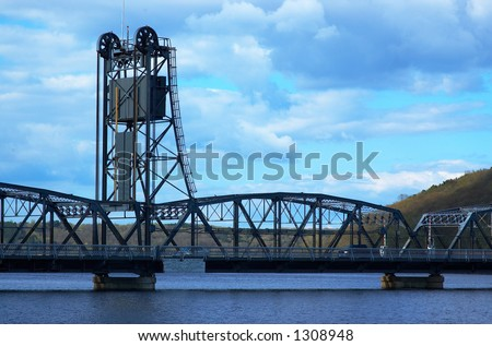 The historic vertical lift bridge on the Mississippi river at Stillwater, MN. - stock photo