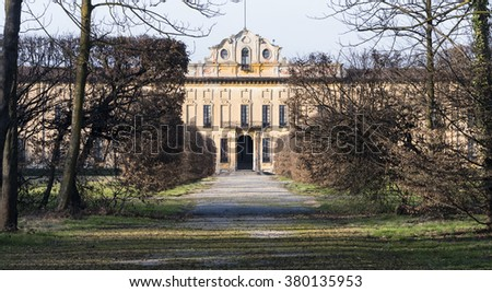 The historic Villa Arconati at Castellazzo di Bollate (Milan, Lombardy, Italy) and its park at winter (February). Built in the 17th century. - stock photo