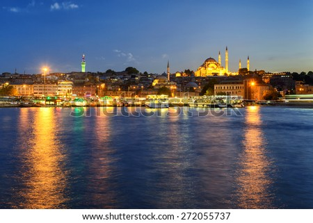 The historical center of Istanbul at night, Turkey. View from the Golden Horn. - stock photo