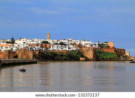 The historical Medina of the city of Rabat, capital of Morocco, viewed from the river. - stock photo