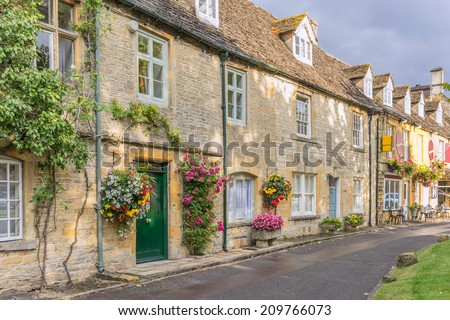 The historical town of Stow on the Wold in the Costwolds - stock photo
