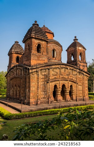 The historically famous Shyam Rai temple also known as Pancha Ratna Temple in Bishnupur established in 1643 AD - stock photo