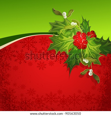 the holiday background with snowflakes and holly (JPEG version) - stock photo