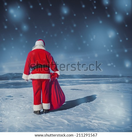 The holiday is over, Santa comes to rest - stock photo