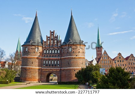 The Holsten Gate (Holstentor) in Lubeck old town, Schleswig-Holstein region, Germany - stock photo