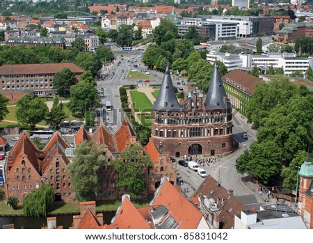 The Holsten Gate in Luebeck. View from above. - stock photo