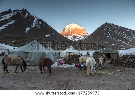 The holy Kailash Mountain at first light of sunrise, Tibet, China - stock photo