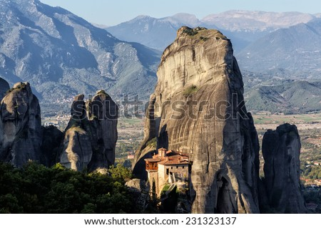The Holy Monastery of Rousanou/St. Barbara, in Greece, was founded in the middle of 16th century and decorated in 1560. Meteora - stock photo