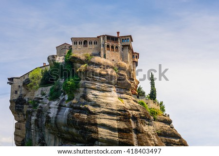 The Holy Monastery of Varlaam at the complex of Meteora monasteries in Greece - stock photo