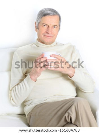 The home life of an elderly person. - stock photo