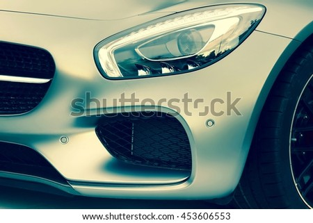 The Hood Of Modern Sport Or Business Car With A Matte Silver Metallic  Coating  - stock photo