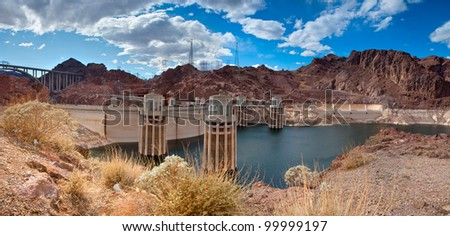 The Hoover Dam viewed from the Arizona side. - stock photo