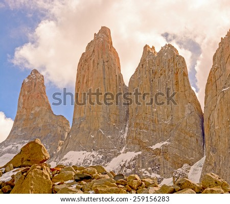 The Horns of Torres del Paine National Park in Chile - stock photo