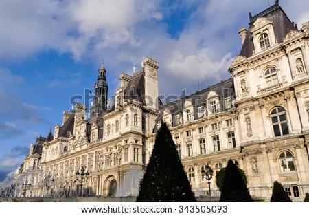 The Hotel de Ville (city hall) in Paris, France - stock photo
