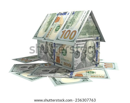 The house, built of American currency banknotes - stock photo
